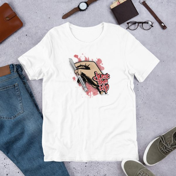 White Just the Tip - Red Dot Knife Graphic T-Shirt