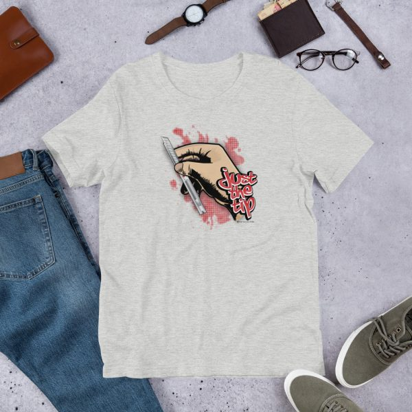 Athletic Heather Just the Tip - Red Dot Knife Graphic T-Shirt