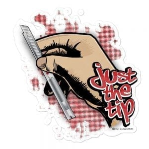 Just the Tip - Red Dot Knife Vinyl Sticker
