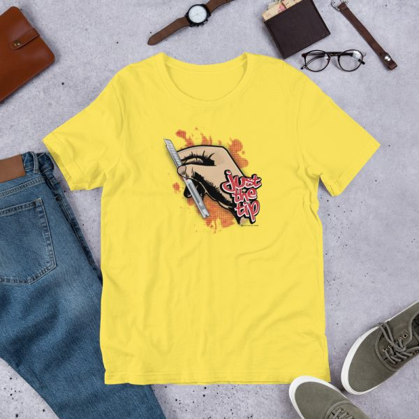Yellow Just the Tip - Red Dot Knife Graphic T-Shirt